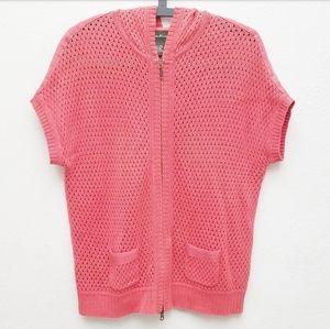 Eddie Bauer Coral Knit Short Sleeve Zip Up Sweater